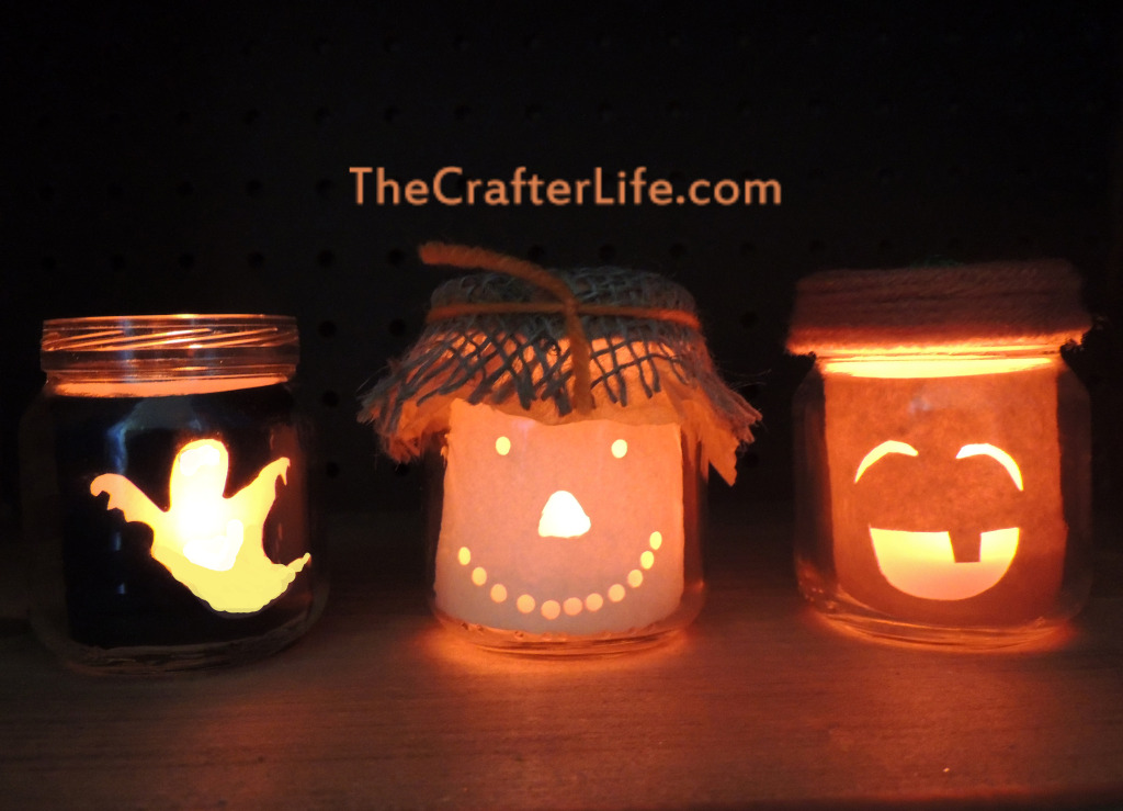 Scarecrow, Pumpkin, Ghost, Candle, Baby food jar