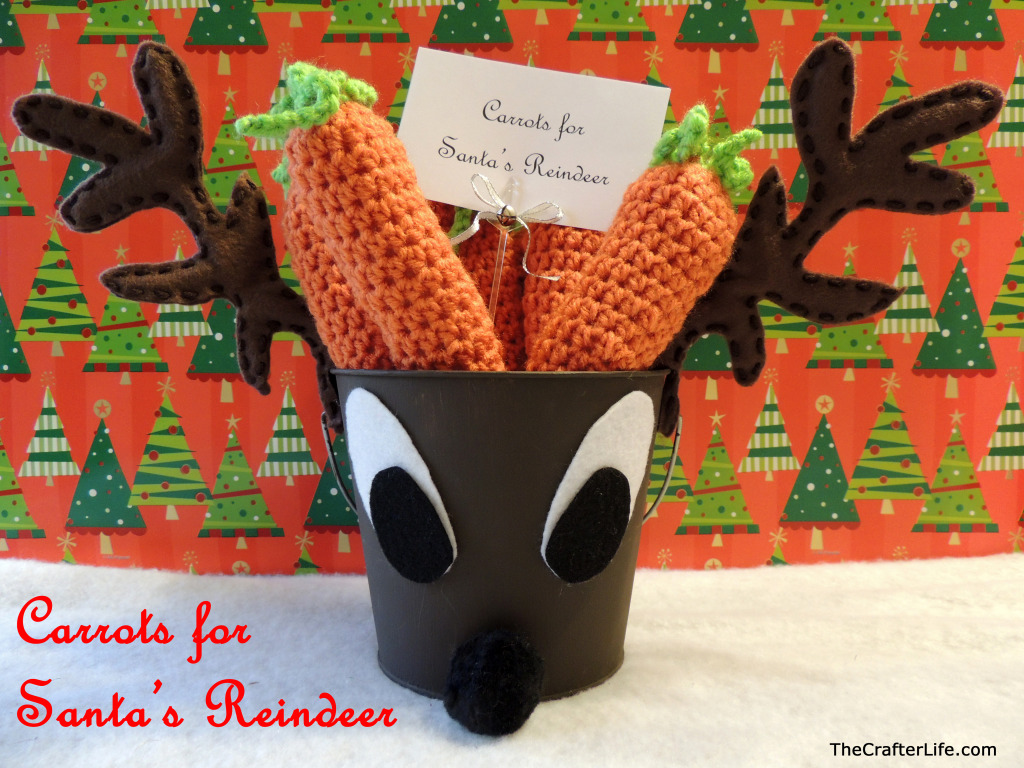 Reindeer Pail with Crochet Carrots